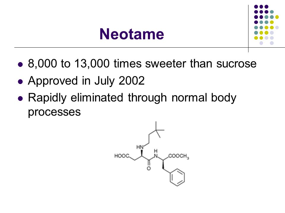 History of Sucralose 1976-Discovered 1977-final formula settled upon 1991-Approved in Canada 1993-Approveed in Australia 1996-Approved in New Zealand 1998-Patented and approved in US 2006-approved in over 60 countries