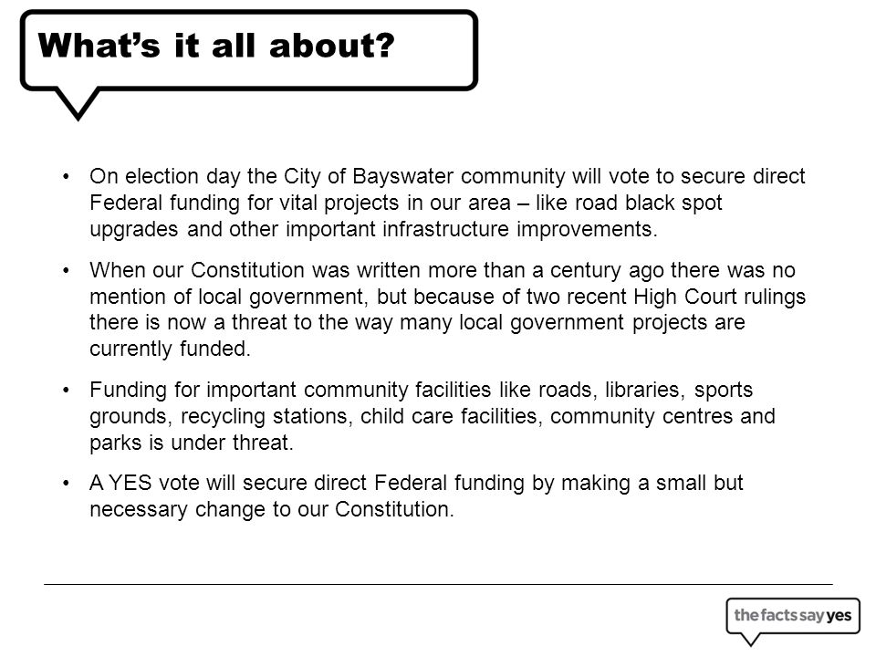 What does that mean for the City of Bayswater.
