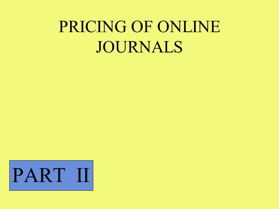 PRICING OF ONLINE JOURNALS PART II