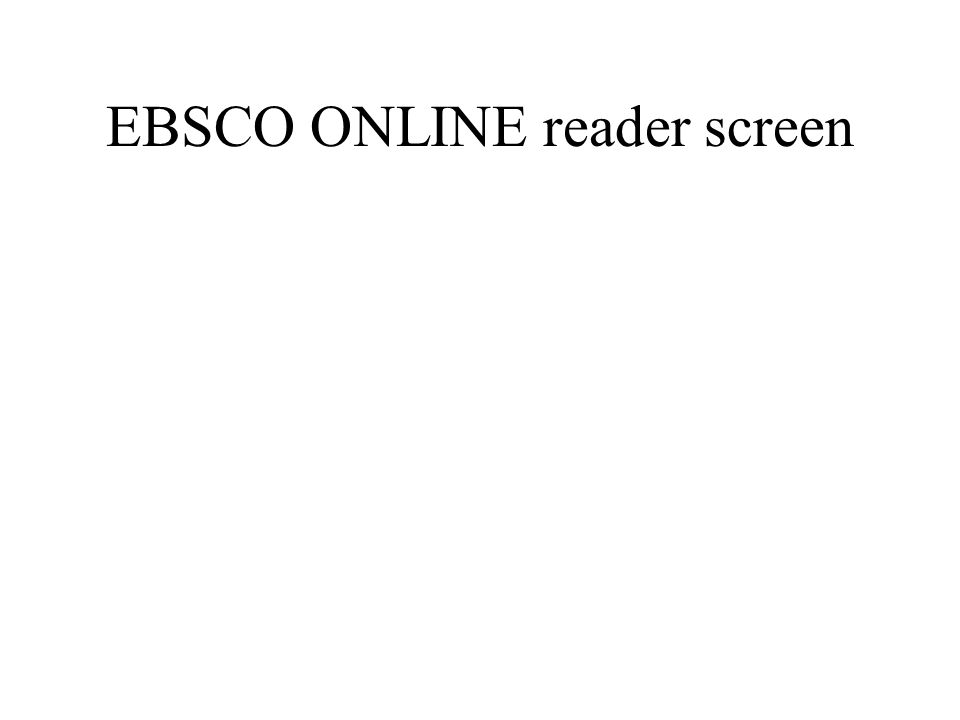 EBSCO ONLINE reader screen