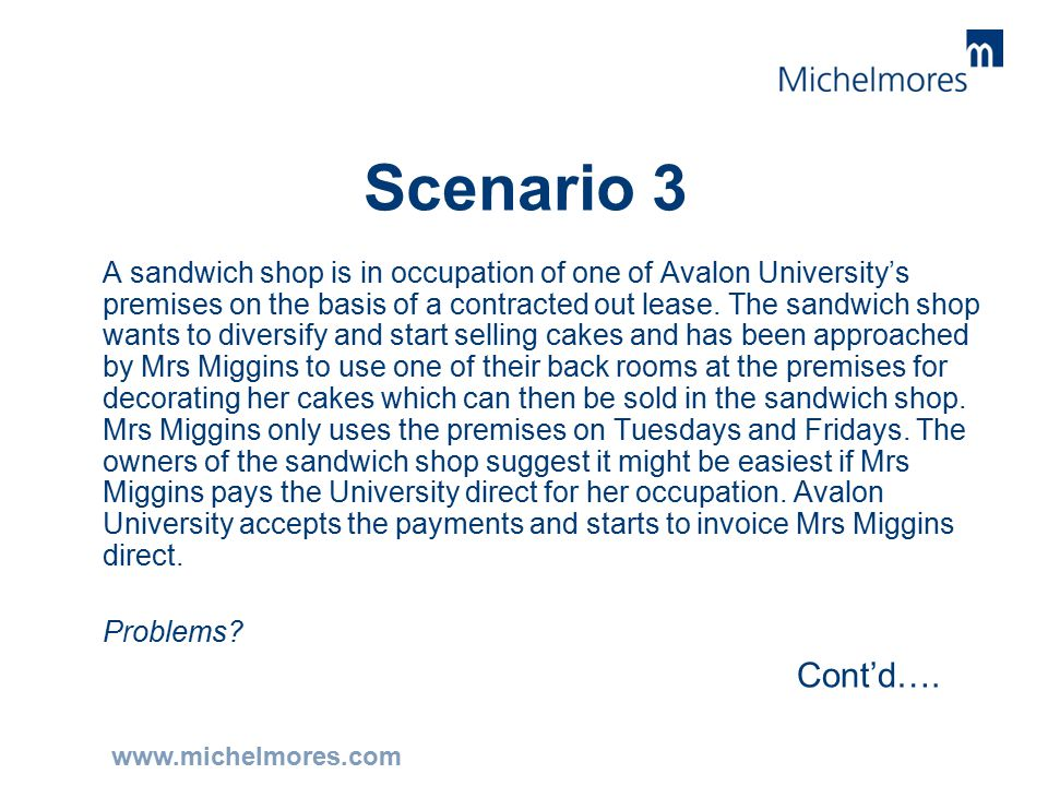 www.michelmores.com Scenario 3 A sandwich shop is in occupation of one of Avalon University's premises on the basis of a contracted out lease.