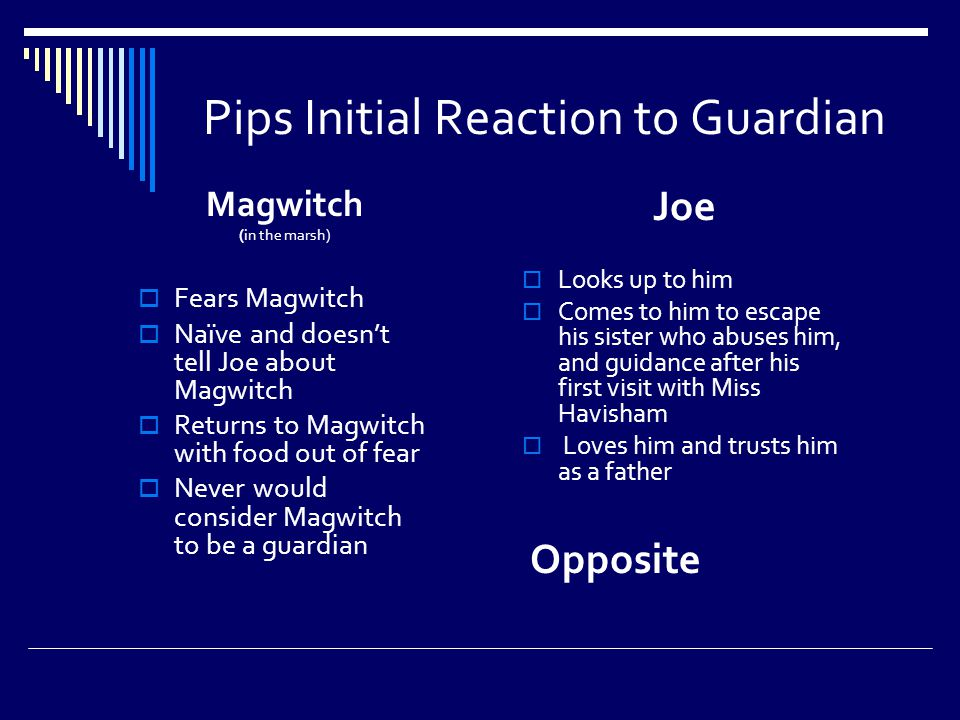 Pips Initial Reaction to Guardian Magwitch (in the marsh)  Fears Magwitch  Naïve and doesn't tell Joe about Magwitch  Returns to Magwitch with food out of fear  Never would consider Magwitch to be a guardian Joe  Looks up to him  Comes to him to escape his sister who abuses him, and guidance after his first visit with Miss Havisham  Loves him and trusts him as a father Opposite