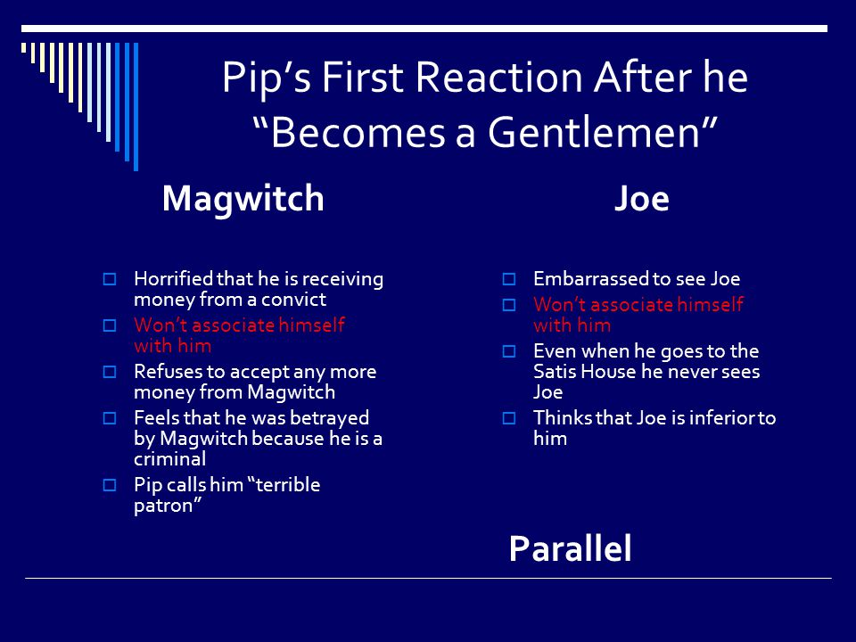 Pip's First Reaction After he Becomes a Gentlemen Magwitch  Horrified that he is receiving money from a convict  Won't associate himself with him  Refuses to accept any more money from Magwitch  Feels that he was betrayed by Magwitch because he is a criminal  Pip calls him terrible patron Joe  Embarrassed to see Joe  Won't associate himself with him  Even when he goes to the Satis House he never sees Joe  Thinks that Joe is inferior to him Parallel