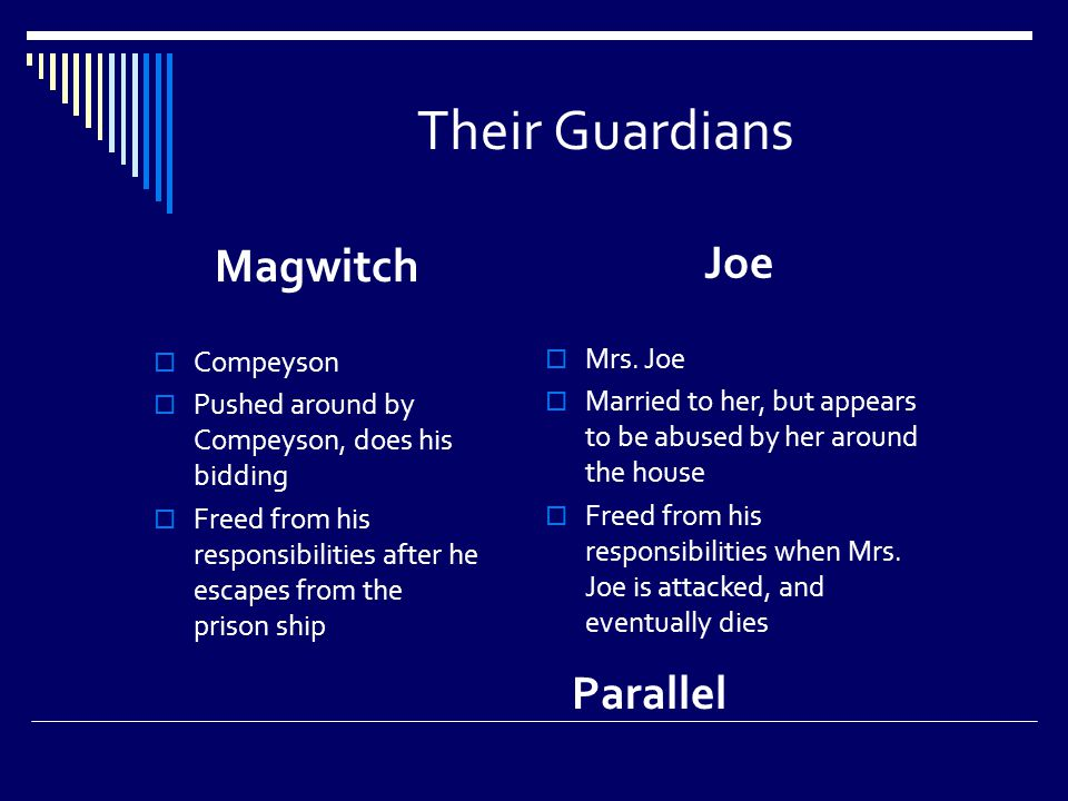 Their Guardians Magwitch  Compeyson  Pushed around by Compeyson, does his bidding  Freed from his responsibilities after he escapes from the prison ship Joe  Mrs.