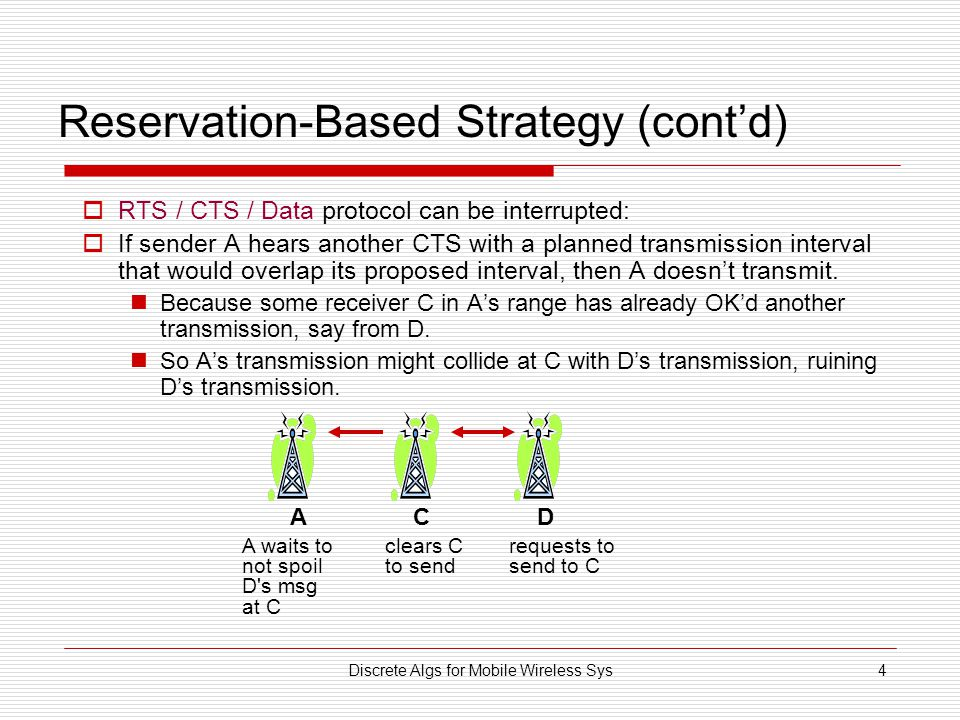 Discrete Algs for Mobile Wireless Sys4 Reservation-Based Strategy (cont'd)  RTS / CTS / Data protocol can be interrupted:  If sender A hears another CTS with a planned transmission interval that would overlap its proposed interval, then A doesn't transmit.