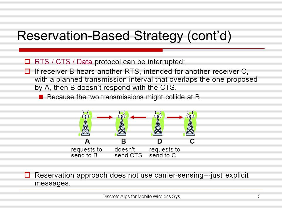 Discrete Algs for Mobile Wireless Sys5 Reservation-Based Strategy (cont'd)  RTS / CTS / Data protocol can be interrupted:  If receiver B hears another RTS, intended for another receiver C, with a planned transmission interval that overlaps the one proposed by A, then B doesn't respond with the CTS.
