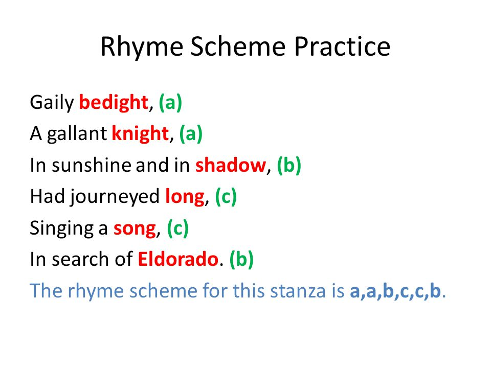 Rhyme Scheme Practice Gaily bedight, (a) A gallant knight, (a) In sunshine and in shadow, (b) Had journeyed long, (c) Singing a song, (c) In search of Eldorado.