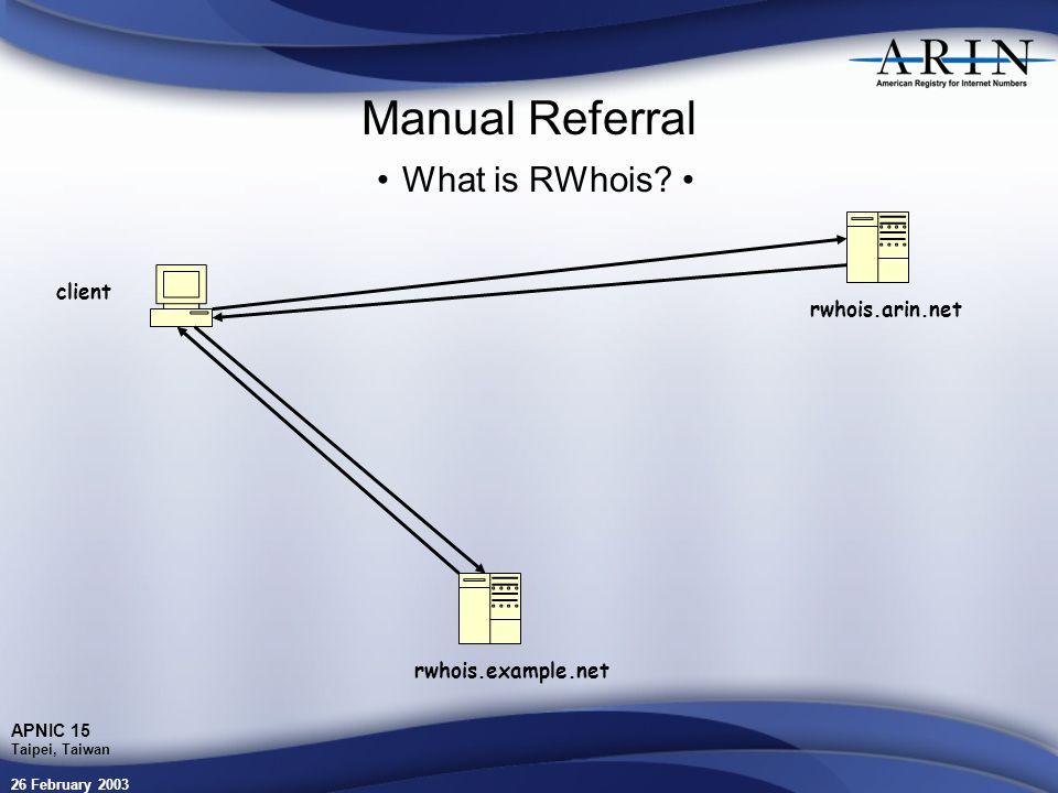 26 February 2003 APNIC 15 Taipei, Taiwan Manual Referral What is RWhois.