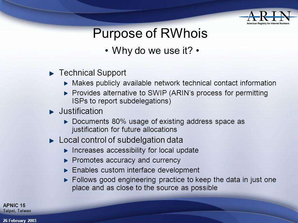 26 February 2003 APNIC 15 Taipei, Taiwan Purpose of RWhois Why do we use it.