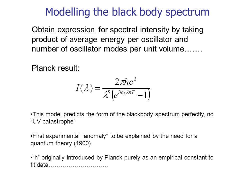 Modelling the black body spectrum Obtain expression for spectral intensity by taking product of average energy per oscillator and number of oscillator
