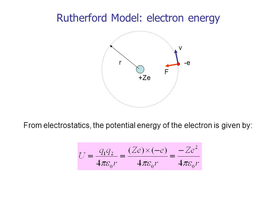 r v F +Ze -e Rutherford Model: electron energy From electrostatics, the potential energy of the electron is given by: