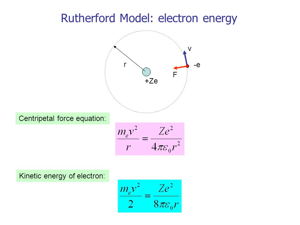 r v F +Ze -e Rutherford Model: electron energy Centripetal force equation: Kinetic energy of electron: