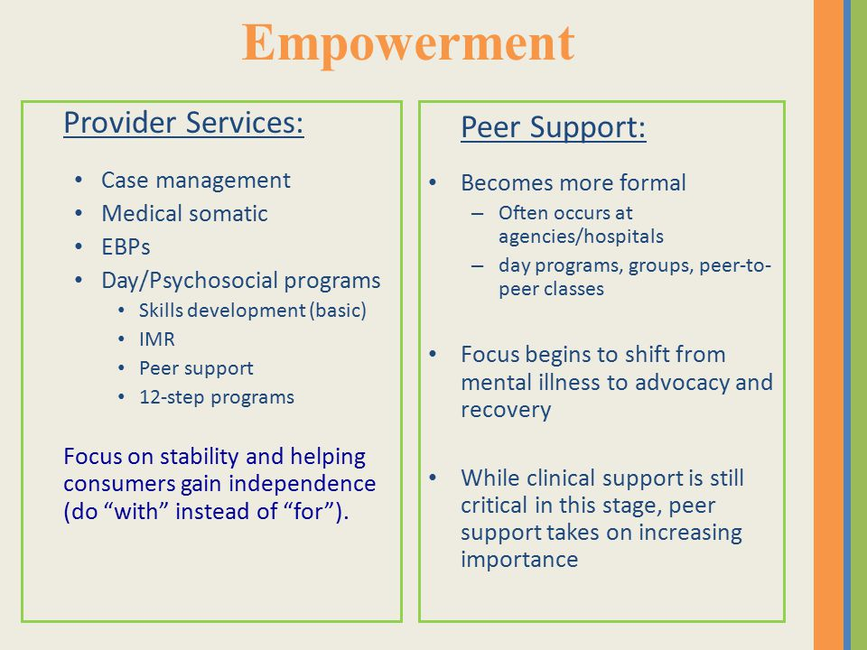 Empowerment Provider Services: Case management Medical somatic EBPs Day/Psychosocial programs Skills development (basic) IMR Peer support 12-step programs Focus on stability and helping consumers gain independence (do with instead of for ).