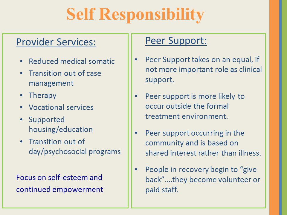 Self Responsibility Provider Services: Reduced medical somatic Transition out of case management Therapy Vocational services Supported housing/education Transition out of day/psychosocial programs Focus on self-esteem and continued empowerment Peer Support: Peer Support takes on an equal, if not more important role as clinical support.