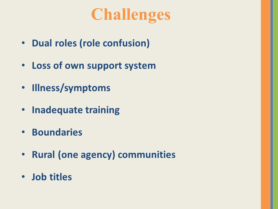 Challenges Dual roles (role confusion) Loss of own support system Illness/symptoms Inadequate training Boundaries Rural (one agency) communities Job titles