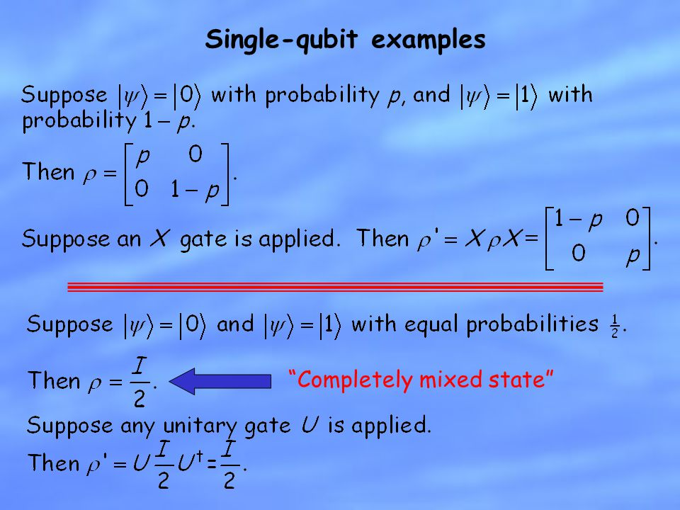 """Single-qubit examples """"Completely mixed state"""""""
