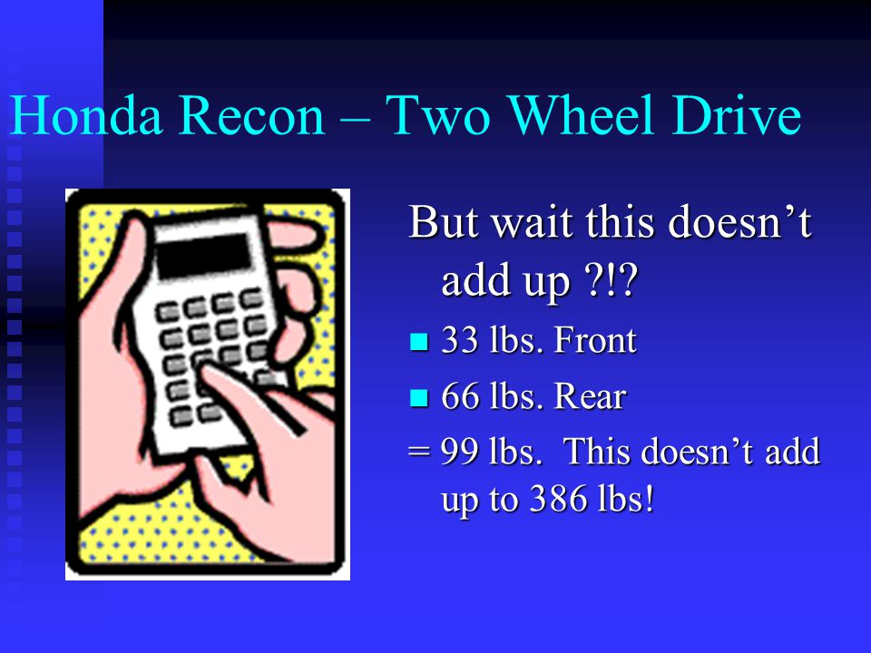 Honda Recon – Two Wheel Drive Load Safety  Max wt. Capacity – 386 lbs  Front wt. Capacity – 33 lbs  Rear wt. Capacity – 66 lbs