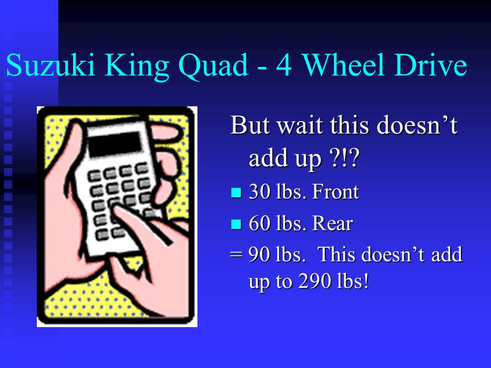 Suzuki King Quad - 4 Wheel Drive Load Safety  Max wt.