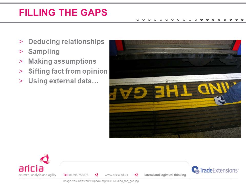 FILLING THE GAPS >Deducing relationships >Sampling >Making assumptions >Sifting fact from opinion >Using external data… Image from http://en.wikipedia.org/wiki/File:Mind_the_gap.jpg