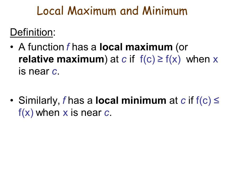 Absolute minimum (also local minimum) Local maximum Local minimum Absolute maximum (also local maximum) Local minimum Example: