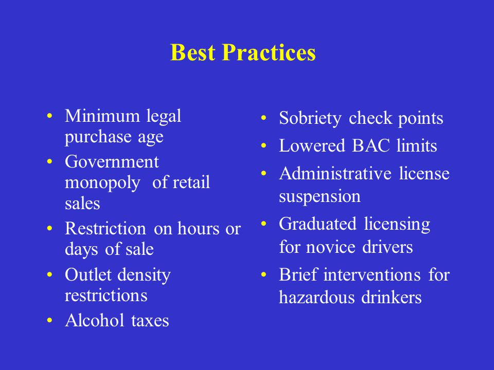 Best Practices Minimum legal purchase age Government monopoly of retail sales Restriction on hours or days of sale Outlet density restrictions Alcohol