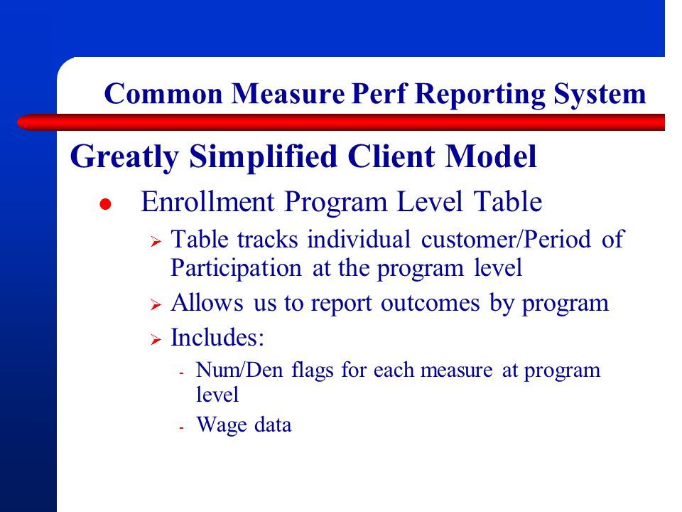 Common Measure Perf Reporting System Greatly Simplified Client Model Enrollment Program Level Table  Table tracks individual customer/Period of Participation at the program level  Allows us to report outcomes by program  Includes: - Num/Den flags for each measure at program level - Wage data
