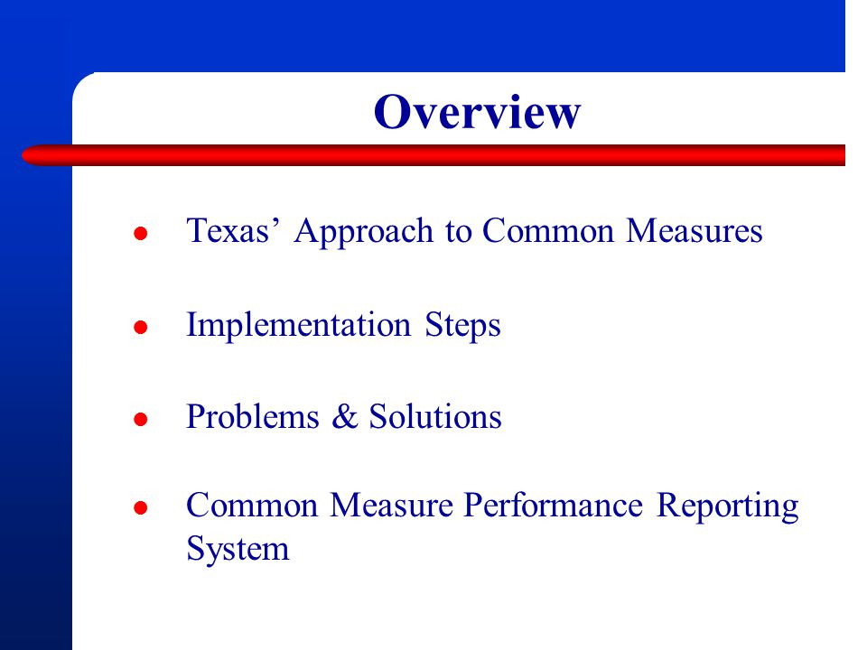 Overview Texas' Approach to Common Measures Implementation Steps Problems & Solutions Common Measure Performance Reporting System