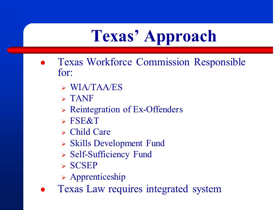 Texas' Approach Texas Workforce Commission Responsible for:  WIA/TAA/ES  TANF  Reintegration of Ex-Offenders  FSE&T  Child Care  Skills Development Fund  Self-Sufficiency Fund  SCSEP  Apprenticeship Texas Law requires integrated system