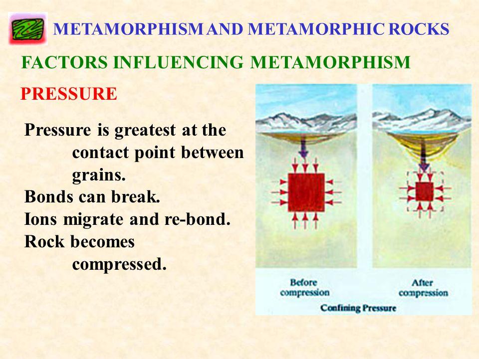METAMORPHISM AND METAMORPHIC ROCKS FACTORS INFLUENCING METAMORPHISM PRESSURE Pressure is greatest at the contact point between grains.
