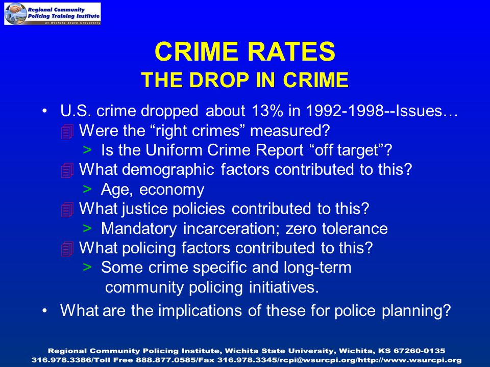 U.S. crime dropped about 13% in 1992-1998--Issues…  Were the right crimes measured.