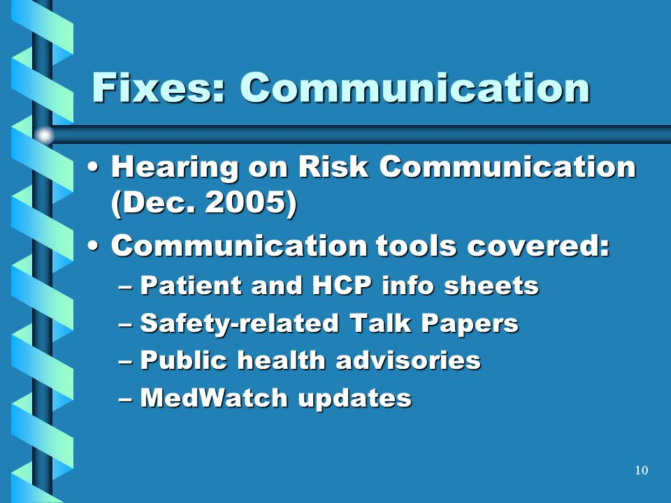 10 Fixes: Communication Hearing on Risk Communication (Dec.