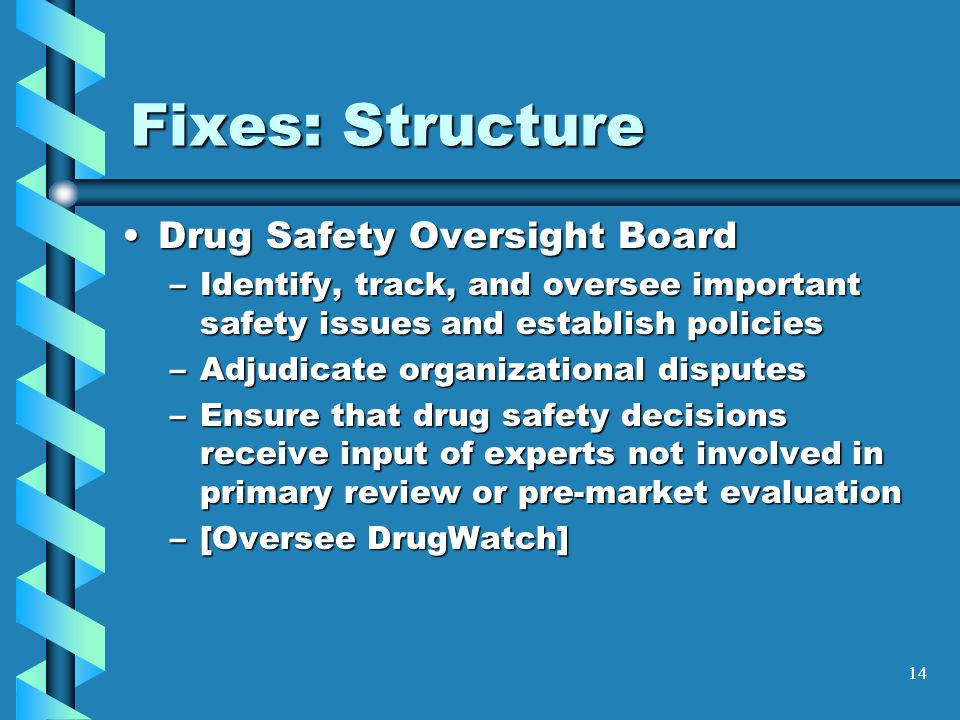 14 Fixes: Structure Drug Safety Oversight BoardDrug Safety Oversight Board –Identify, track, and oversee important safety issues and establish policies –Adjudicate organizational disputes –Ensure that drug safety decisions receive input of experts not involved in primary review or pre-market evaluation –[Oversee DrugWatch]