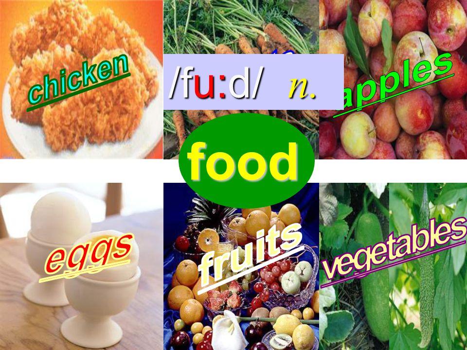 food /fu:d/ n.