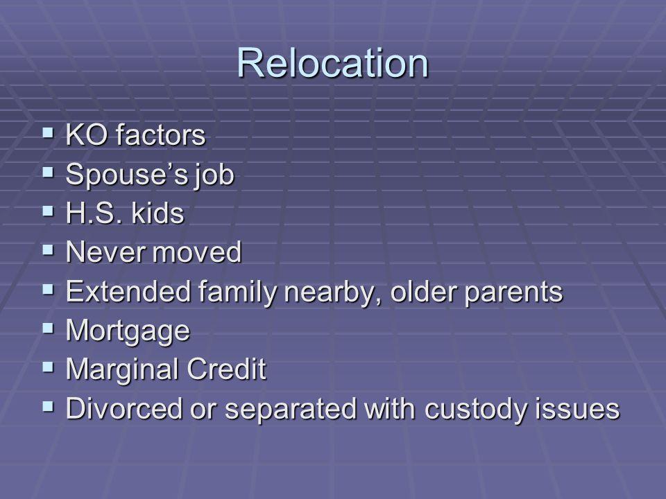 Relocation  KO factors  Spouse's job  H.S.