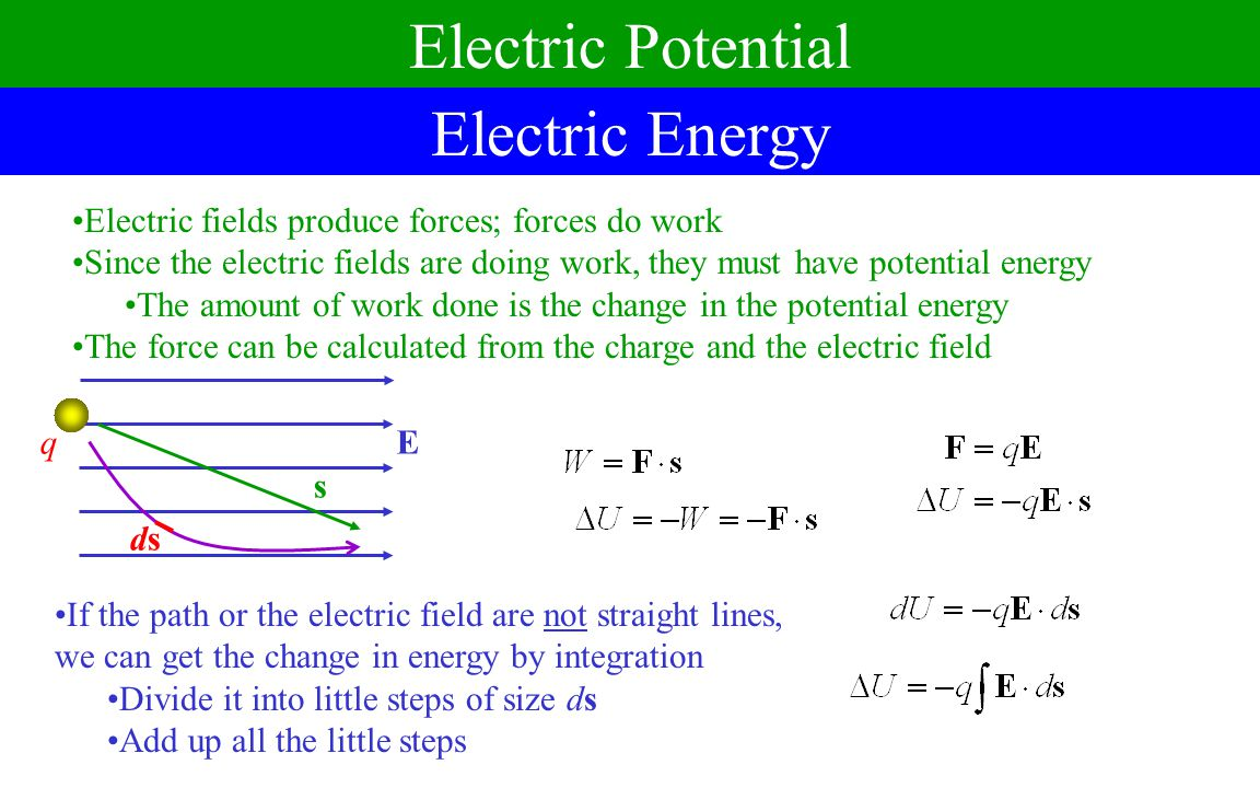 Electric Potential Electric Energy Electric fields produce forces; forces do work Since the electric fields are doing work, they must have potential energy The amount of work done is the change in the potential energy The force can be calculated from the charge and the electric field qE s If the path or the electric field are not straight lines, we can get the change in energy by integration Divide it into little steps of size ds Add up all the little steps dsds