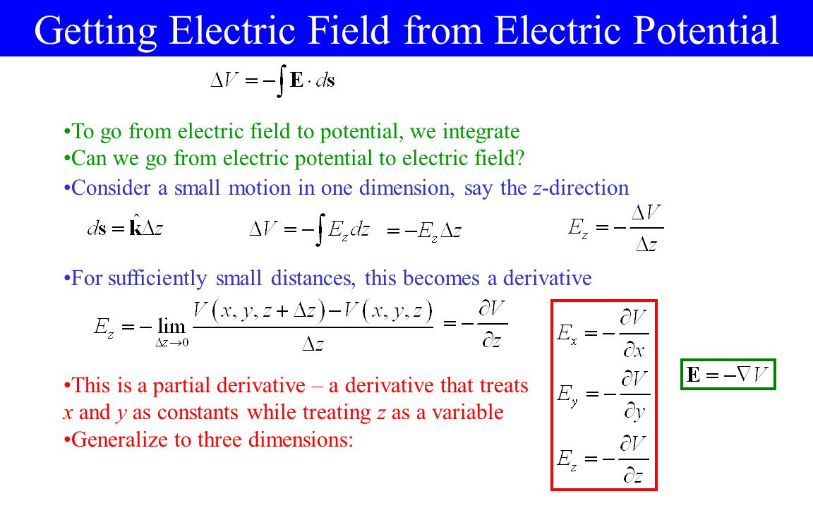 Getting Electric Field from Electric Potential To go from electric field to potential, we integrate Can we go from electric potential to electric field.
