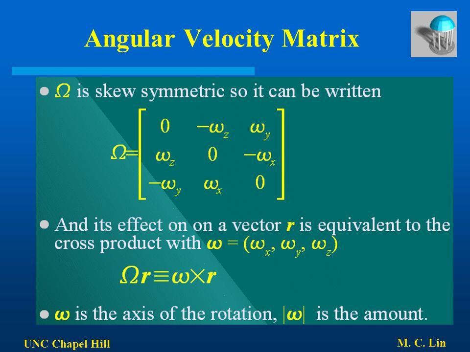 UNC Chapel Hill M. C. Lin Angular Velocity Matrix