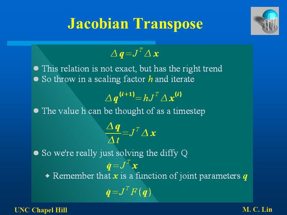 UNC Chapel Hill M. C. Lin Jacobian Transpose