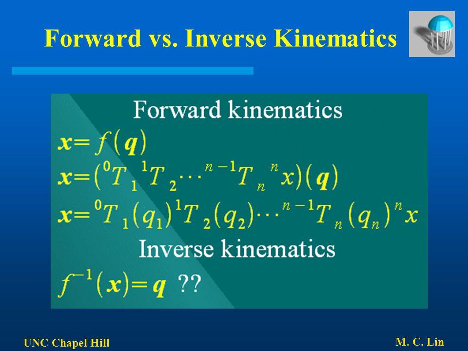 UNC Chapel Hill M. C. Lin Forward vs. Inverse Kinematics