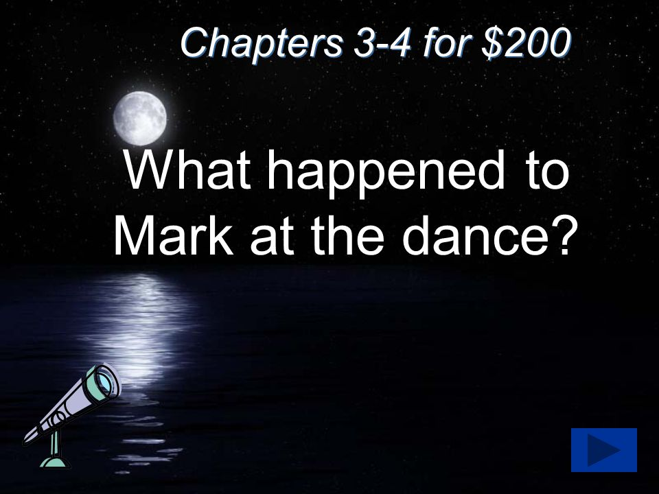 Chapters 3-4 for $200 What happened to Mark at the dance