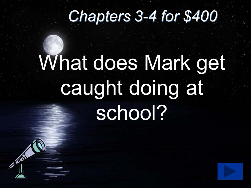 Chapters 3-4 for $400 What does Mark get caught doing at school?