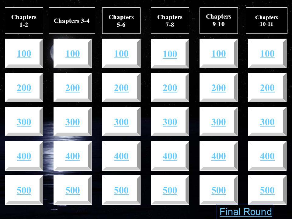 Chapters 1-2 Chapters 3-4 Chapters 5-6 Chapters 7-8 Chapters 9-10 500 400 500 400 300 200 100 200 300 400 500 Chapters 10-11 Final Round