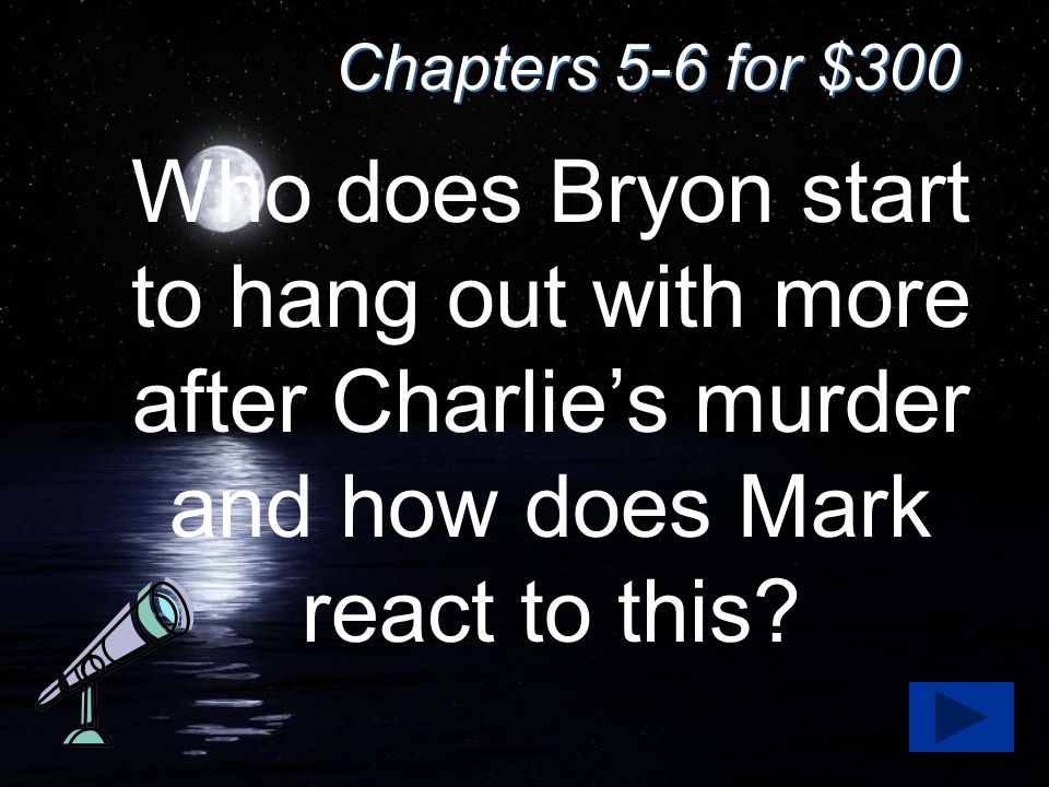 Chapters 5-6 for $300 Who does Bryon start to hang out with more after Charlie's murder and how does Mark react to this