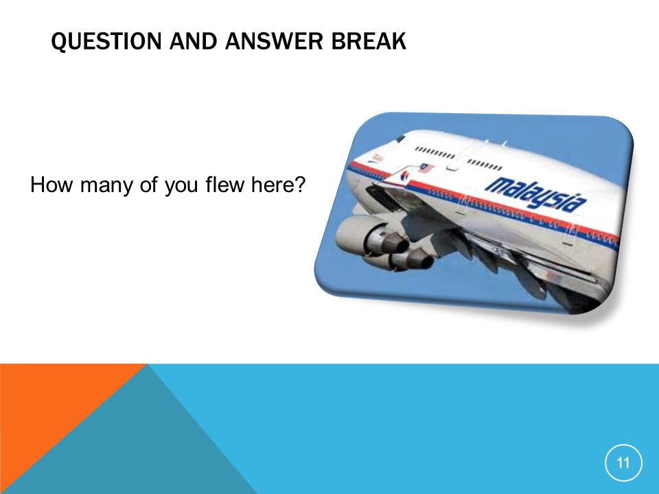 QUESTION AND ANSWER BREAK 11 How many of you flew here?