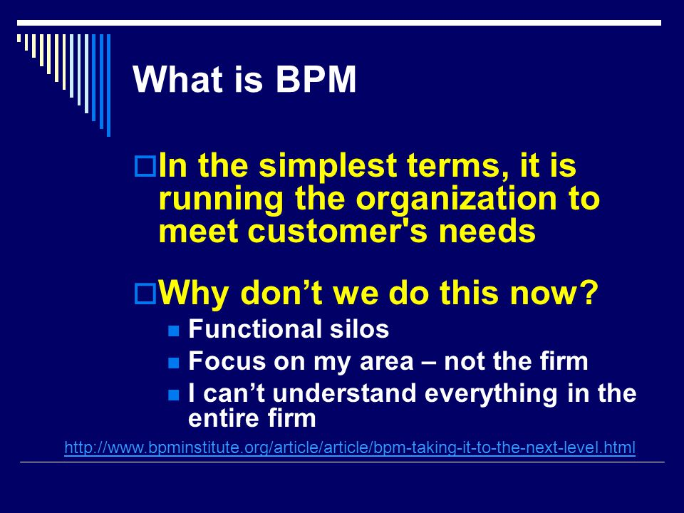 What is BPM  In the simplest terms, it is running the organization to meet customer s needs  Why don't we do this now.