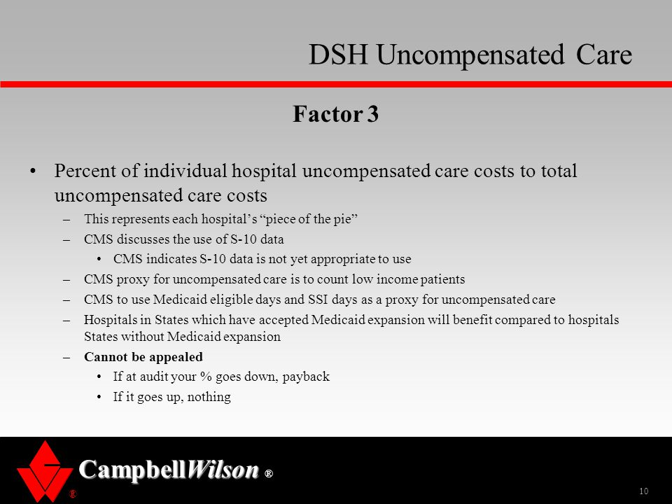 ® CampbellWilson ® DSH Uncompensated Care Factor 3 Percent of individual hospital uncompensated care costs to total uncompensated care costs –This rep