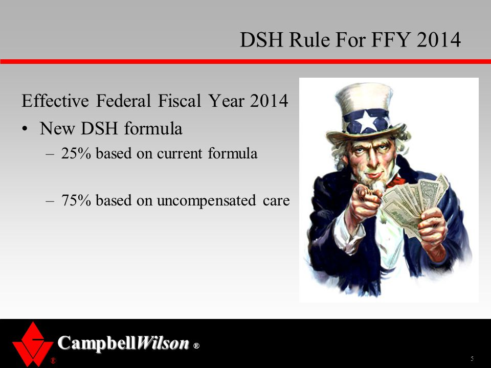 ® CampbellWilson ® DSH Rule For FFY 2014 Effective Federal Fiscal Year 2014 New DSH formula –25% based on current formula –75% based on uncompensated