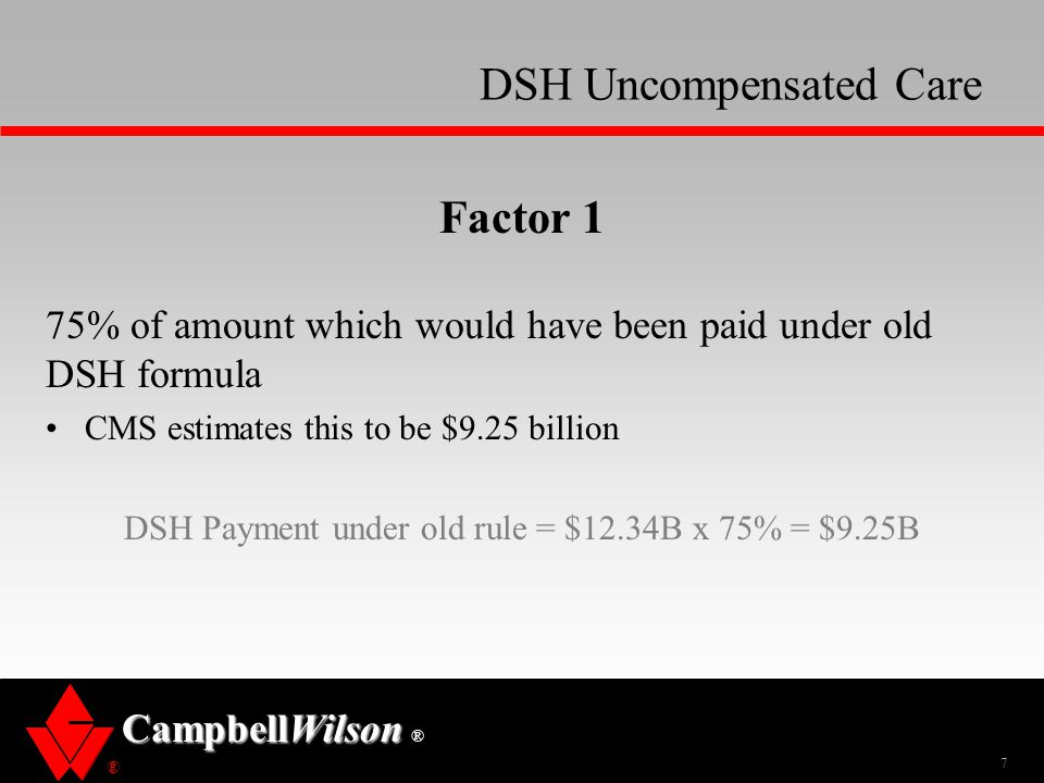 ® CampbellWilson ® DSH Uncompensated Care Factor 1 75% of amount which would have been paid under old DSH formula CMS estimates this to be $9.25 billi