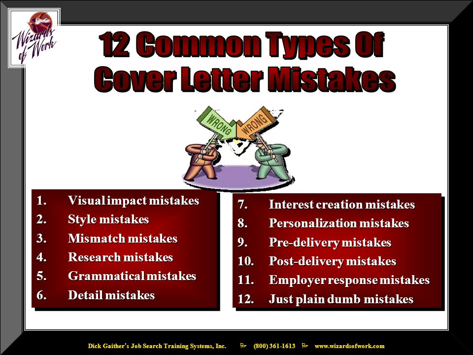 1.Visual impact mistakes 2.Style mistakes 3.Mismatch mistakes 4.Research mistakes 5.Grammatical mistakes 6.Detail mistakes 1.Visual impact mistakes 2.