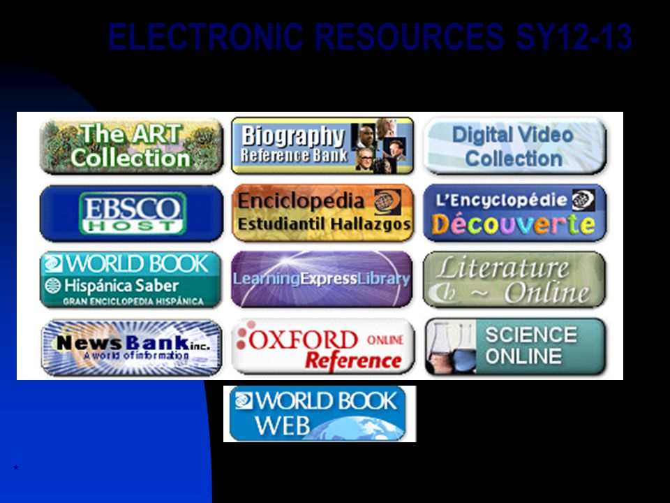 ELECTRONIC RESOURCES SY12-13 *.